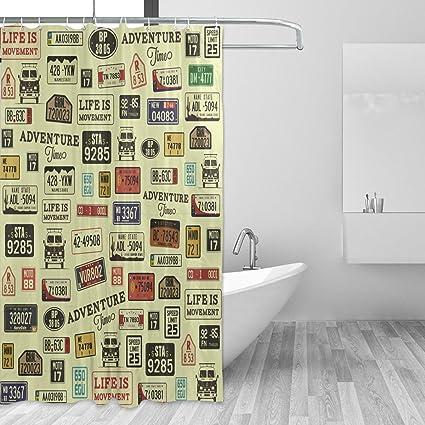 WellLee Grunge Car Number License Plates Shower Curtain Waterproof Fabric Fashion Custom Bathroom Decor 66 X