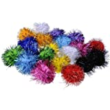 20 Piece Assorted Color Sparkle Balls My Cat's All Time Favorite Toy Tinsel Pom Poms Glitter