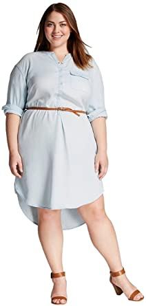 d39df9d33ef1 Merona Women's Plus Size Denim Shirtdress with Belt (1X, Blue Marine) at  Amazon Women's Clothing store: