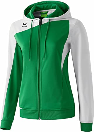Erima Club 1900 Tracksuit Top with Hood White / Emerald B00IVVKRL2