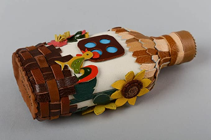 Botella de vidrio decorada hecha a mano objeto de decoracion adorno ...