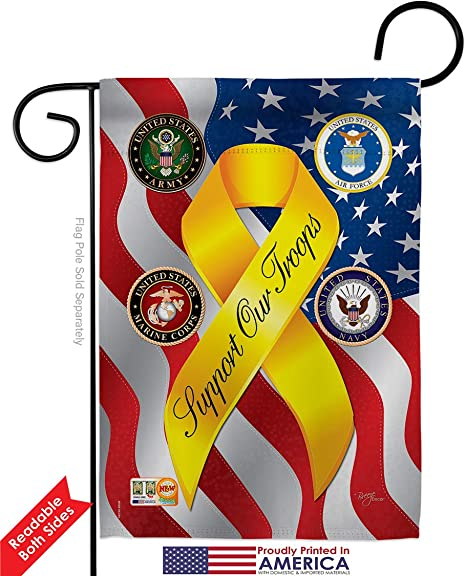 Amazon Com Service Support Our Troops Freedom Garden House Flags Kit Armed Forces All Branches Honor United State American Military Veteran Official Small Gift Yard Banner Double Sided Made In Usa 28 X