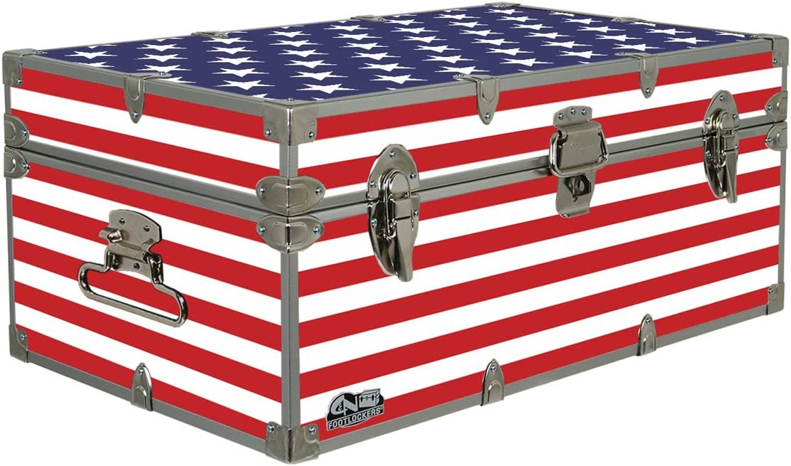 C N Footlockers Designer Trunk – Fourth of July Americana Storage Trunk – 32x18x13.5 Inches Stars Stripes