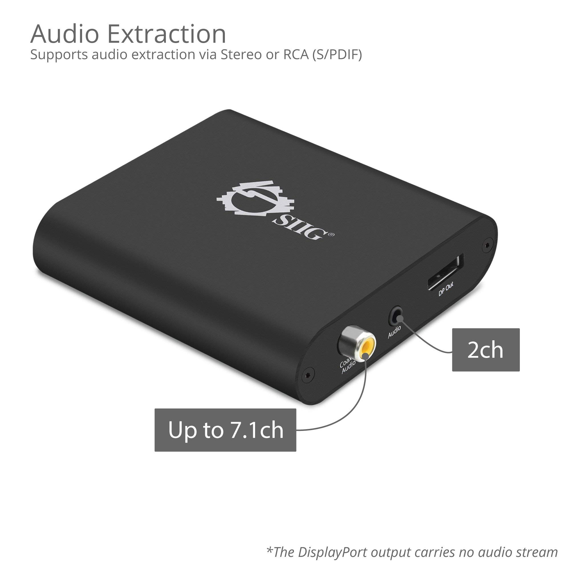 SIIG HDMI 2 0 to DisplayPort 1 2 Converter 4K@60Hz 4:4:4 HDMI to DP, 18Gbps  | HDCP 2 2 | EDID, Audio Extraction to Stereo & RCA, Firmware Upgradeable