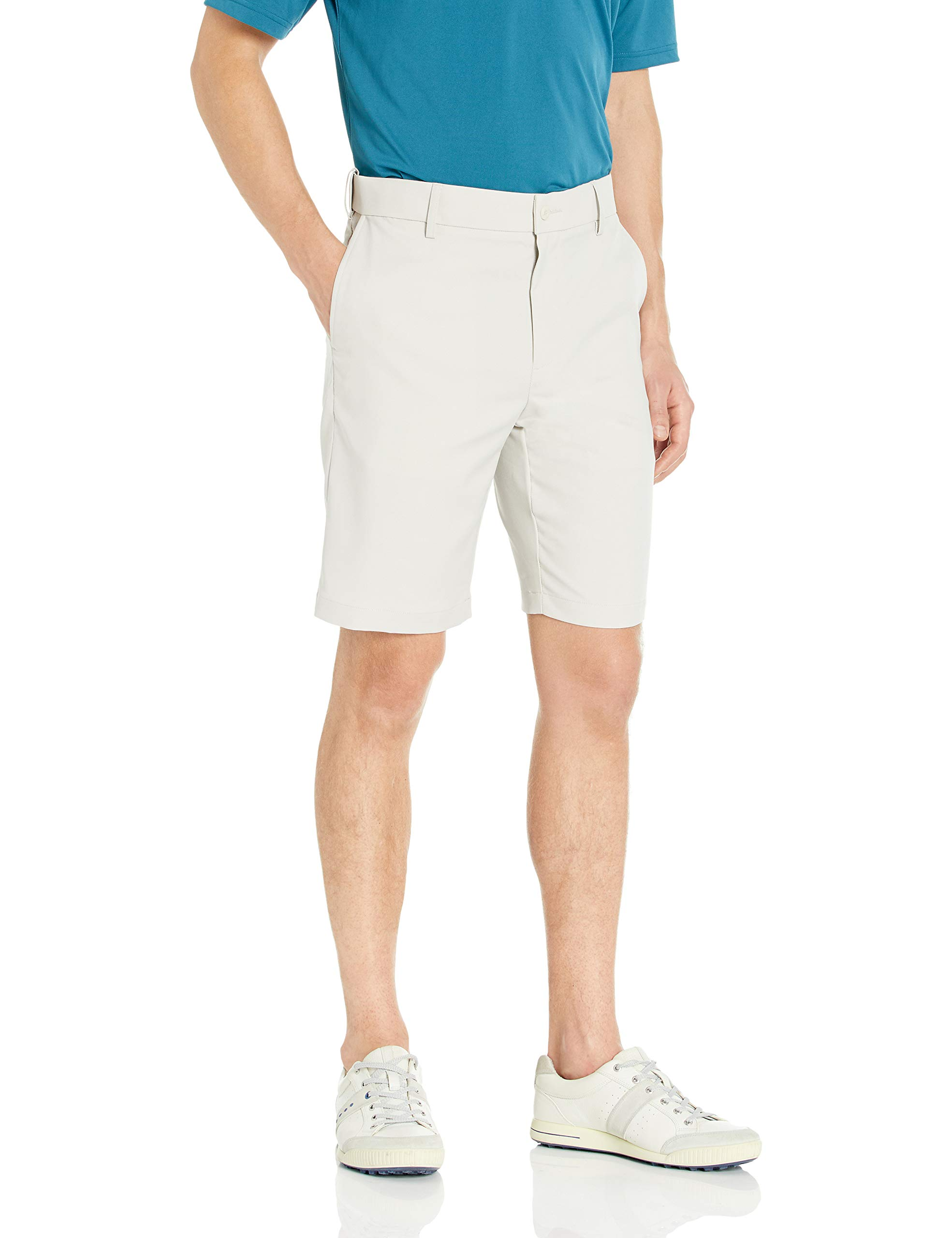 PGA TOUR Men's Expandable Flat Front Short, Silver Cloud, 42 by PGA TOUR