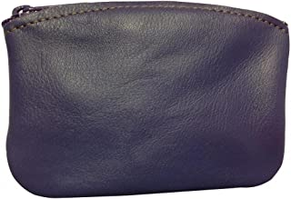 product image for North Star Men's Large Leather Zippered Coin Pouch Change Holder 5 X 3.5 X 0.25 Inches Purple