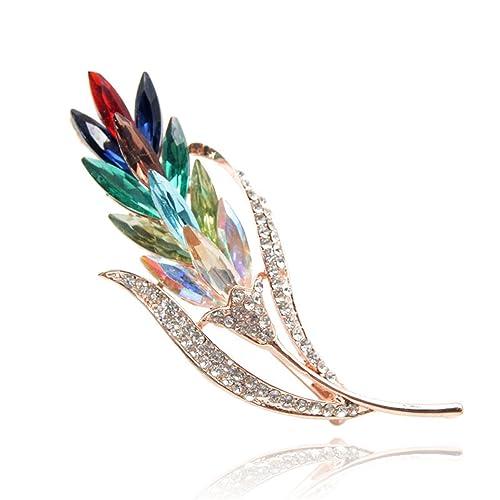 a089a3d3052 Amazon.com: Feroni Multi-color Crystal Flower Brooches Rhinestone ...