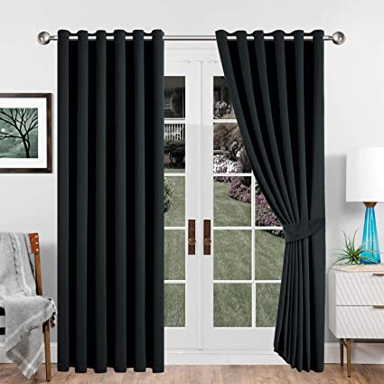 Heavy Thermal Blackout Curtains Eyelet Ring Top Ready Made Window Curtain Pair