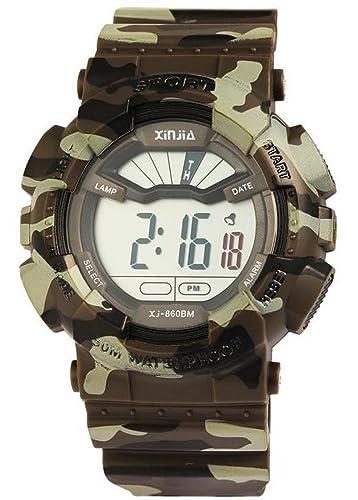 Digital XXL Militar Deportes reloj de pulsera reloj de hombre multifuncional camuflaje color verde oliva marrón: Amazon.es: Relojes