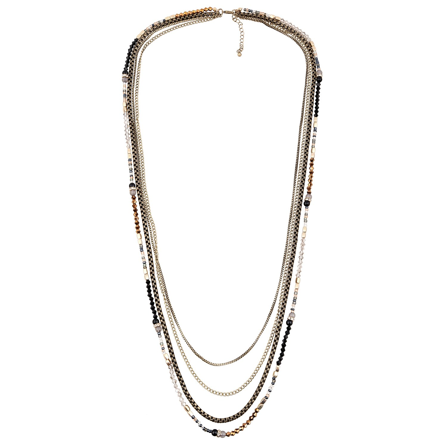 D EXCEED Jewelry Womens Multi Strand Necklace Glass Beaded Sweater Neck Chain Necklace Black