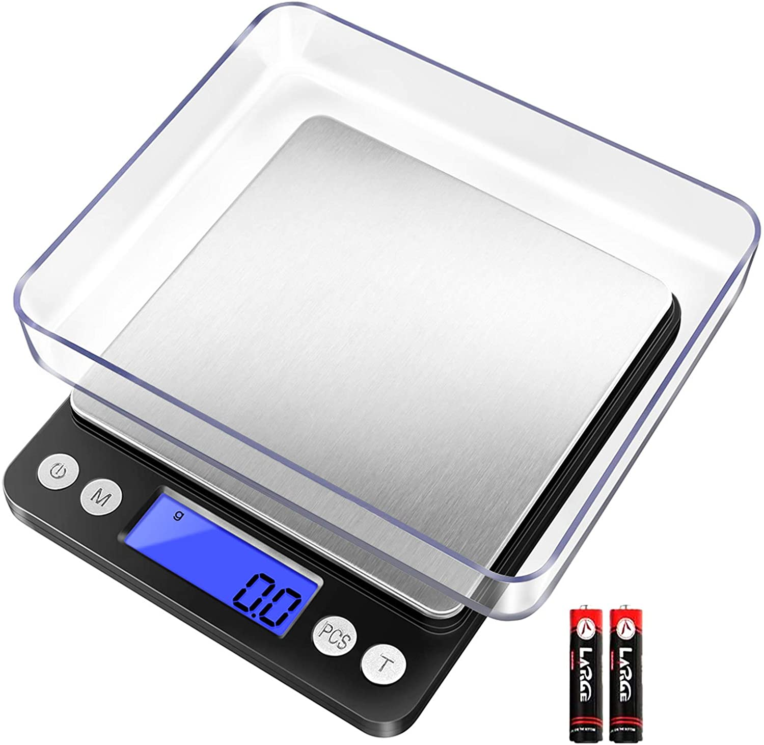 Fuzion Digital Kitchen Scale 3000g/ 0.1g, Pocket Food Scale 6 Units Conversion, Gram Scale with 2 Trays, LCD, Tare Function, Jewelry Scale(Battery Included)