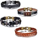 Amazon Price History for:Aroncent 4pcs Mens Cross Brown Braided Leather Bracelet Multi-strand Genuine Leather Wristband Wrap Bracelet