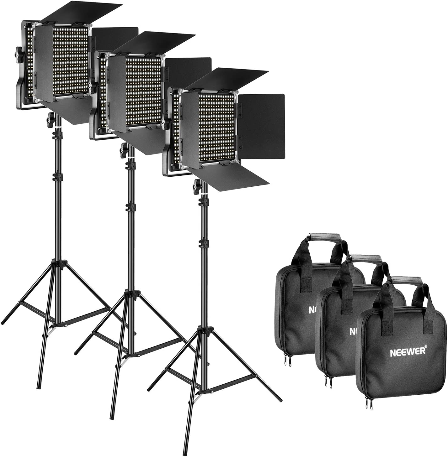 3 Neewer 3 Packs Bi-color 660 LED Video Light with Stand and Softbox Kit: 3200-5600K CRI96+ Dimmable Light with U Bracket and Barndoor 3 Softbox for Studio Photography Video Shooting 3 Light Stand
