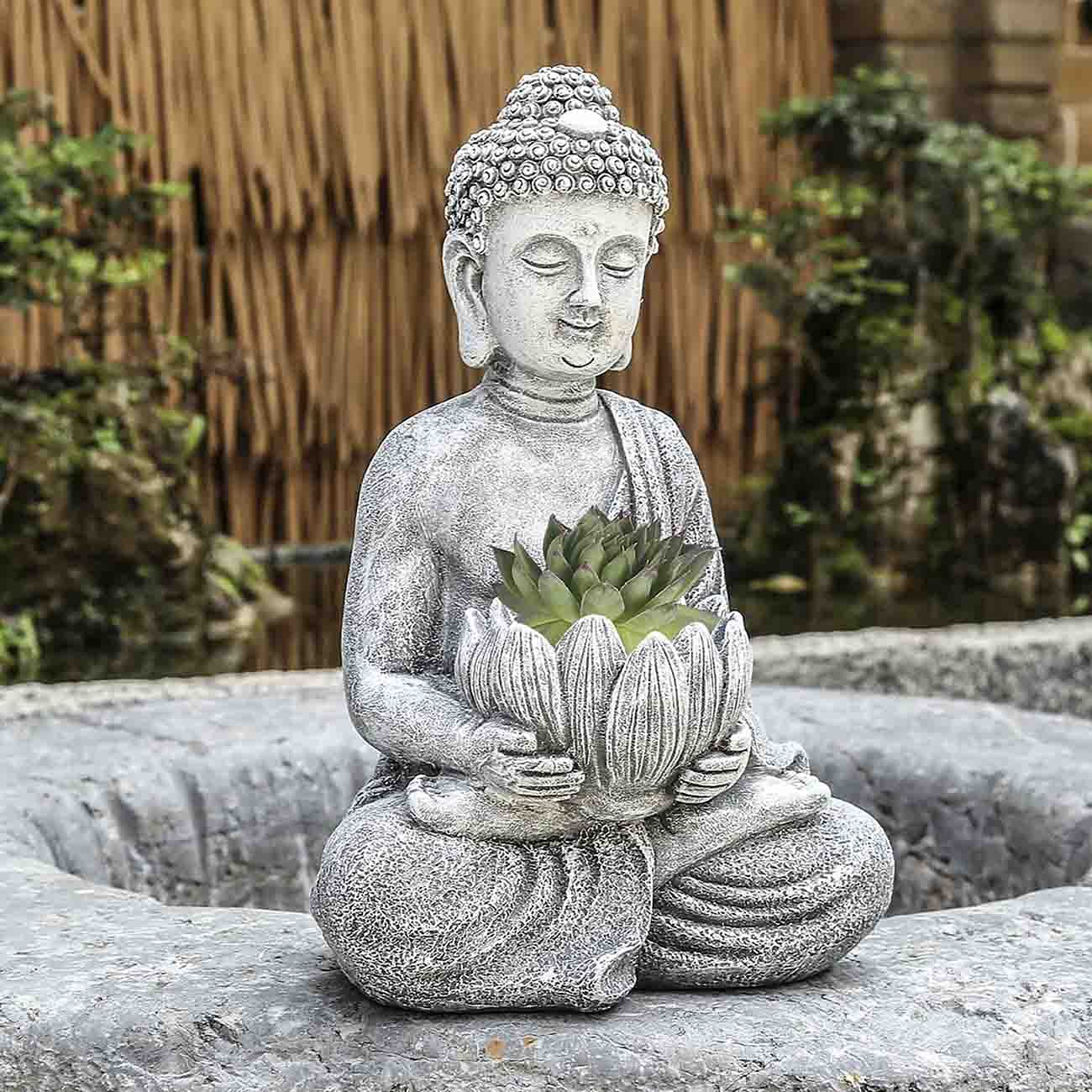 Lotus Buddha Statues, Resin Buddha Figurines Zen Plant Holder, for Succulent Flower Cactus Indoor Outdoor Spring Decorations for Patio Yard Lawn Porch, Ornament Gift Rustic Gray Finish
