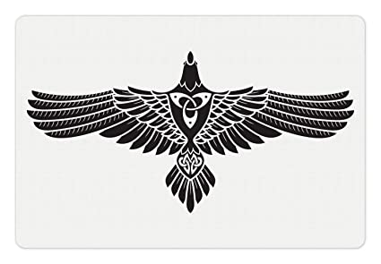 Amazon com: Printawe Raven Pet Mat for Food and Water, Norse