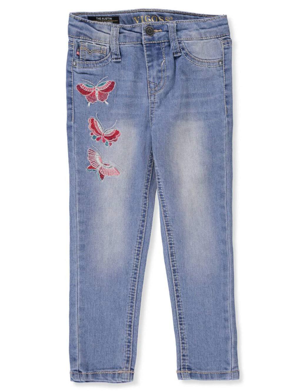 VIGOSS Girls' Toddler Fashion Jean, Butterfly Gulf Blue, 4T