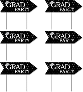 product image for Big Dot of Happiness Tassel Worth The Hassle - Silver - Arrow Graduation Party Direction Signs - Double Sided Outdoor Yard Signs - Set of 6