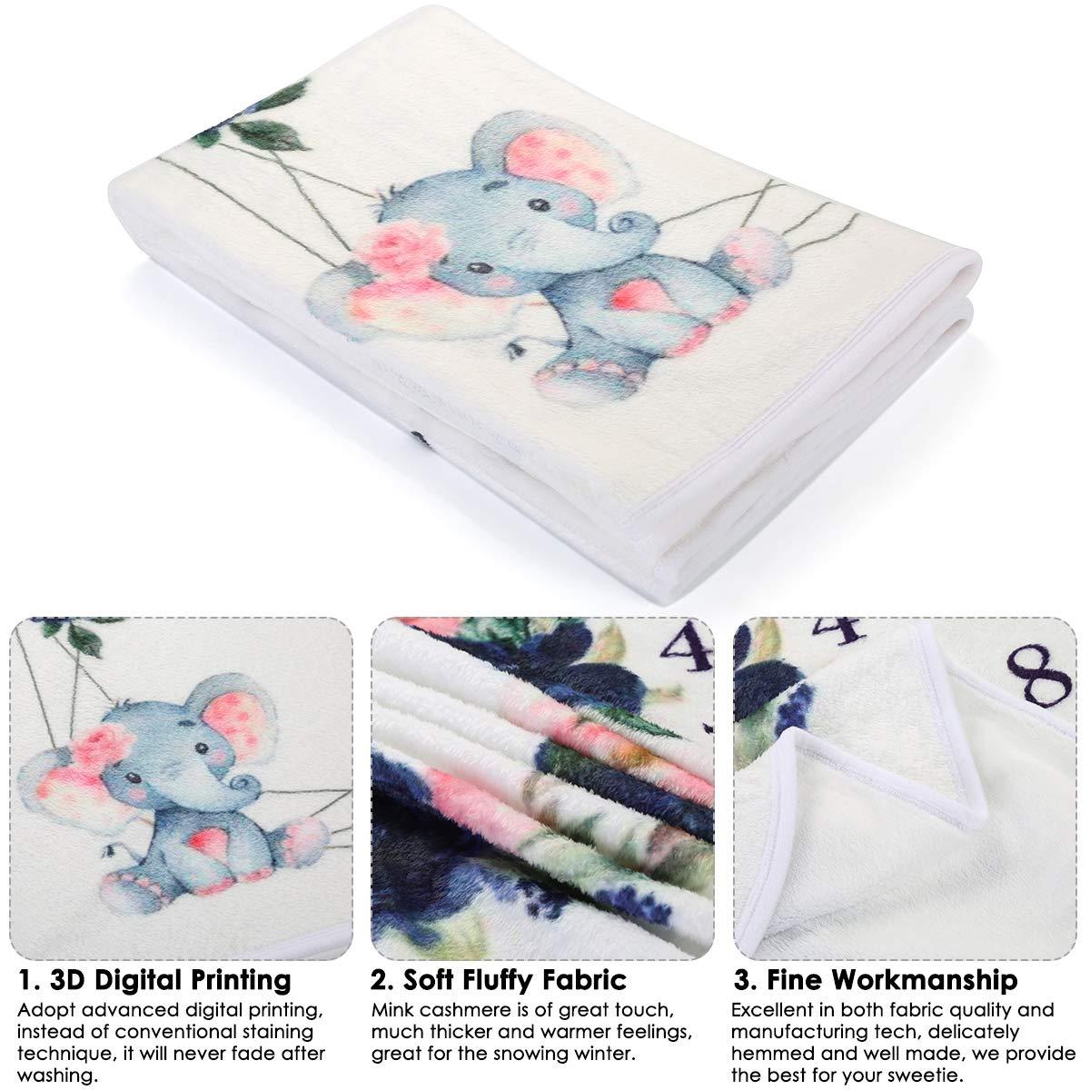 couverture infantile mensuelle de b/éb/é infantile couverture souple de toile de fond de photographie dimpression florale denfant en bas /âge pour les gar/çons jumeaux 150cm x 90cm 59inx35.4in