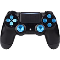 eXtremeRate Blue Metal Buttons for PlayStation 4 Controller, Aluminum Analog Thumbsticks & Bullet Buttons & D-pad Replacements Kits for DualShock 4 PS4 Slim Pro Controller