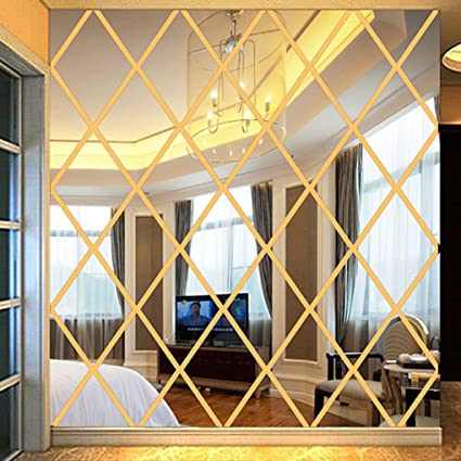 Woaills 3D Wall Stickers,DIY Rhombus Mirror Sticker For Home Livingroom  Decoration (Gold)