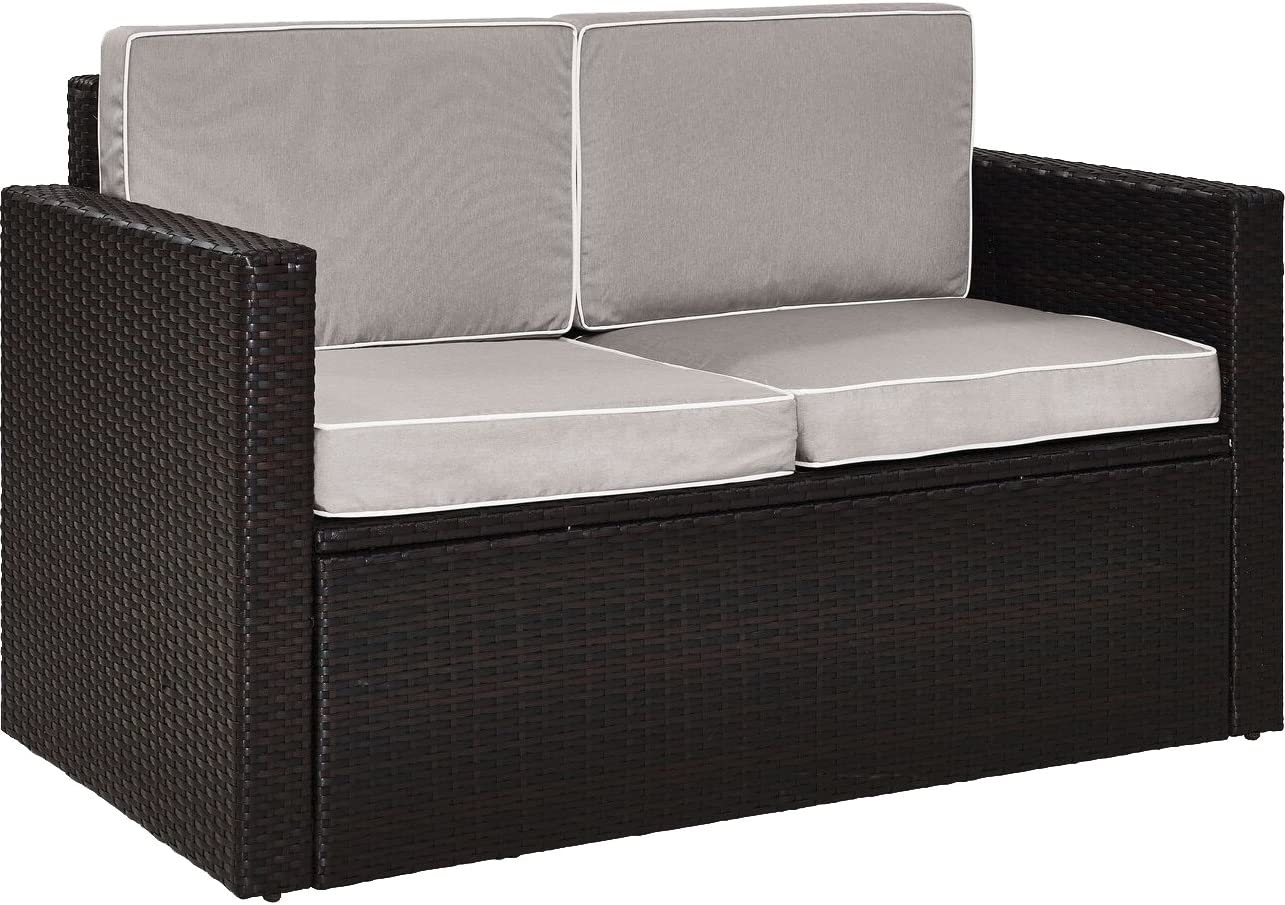 Crosley Furniture KO70092BR-GY Palm Harbor Outdoor Wicker Loveseat with Grey Cushions, Brown