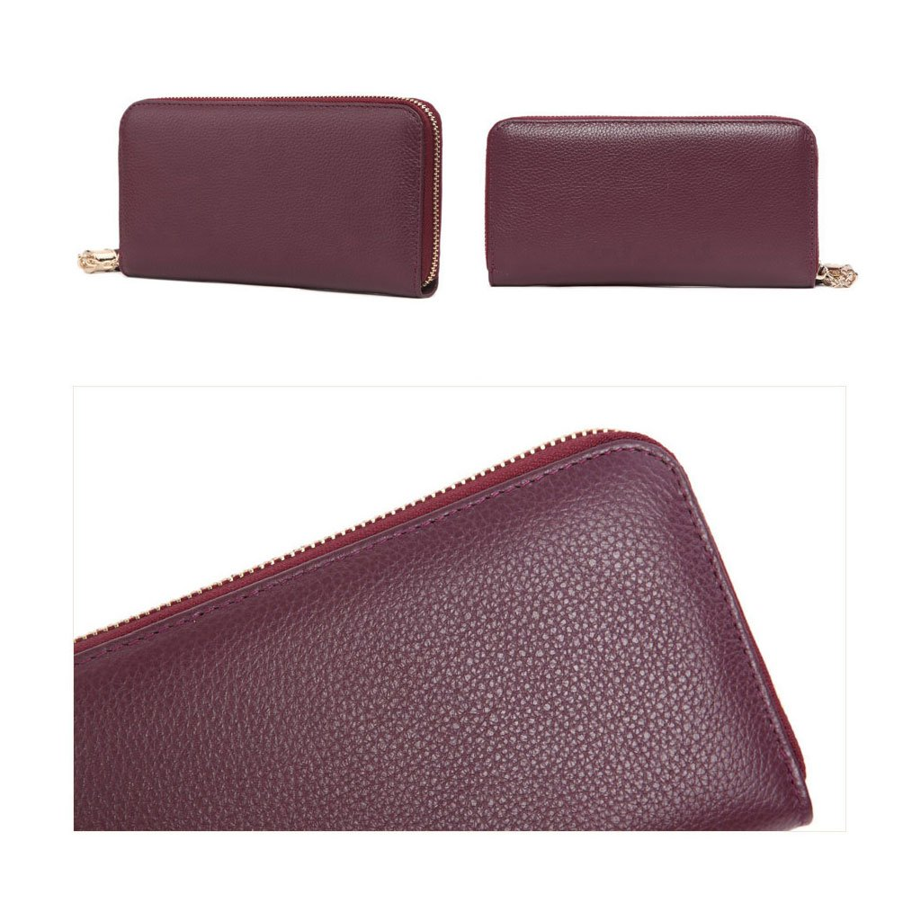 MADE4U Women's Genuine Leather Medium Size Simple Clutch Bags Wallet - Yellow 14080088014 by MADE4U (Image #6)