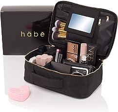 habe Travel Makeup Bag with Mirror - Premium Vegan Designer Make Up Bag Organizer Train Case for Women – More Storage than 3 Cosmetic Bags, Make Up Bags or Make Up Cases (BONUS Make-Up Brush Cleaner)