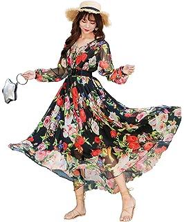 cdc8f243031 Medeshe Women s Long Sleeve Floral Holiday Beach Bridesmaid Maxi Dress  Sundress