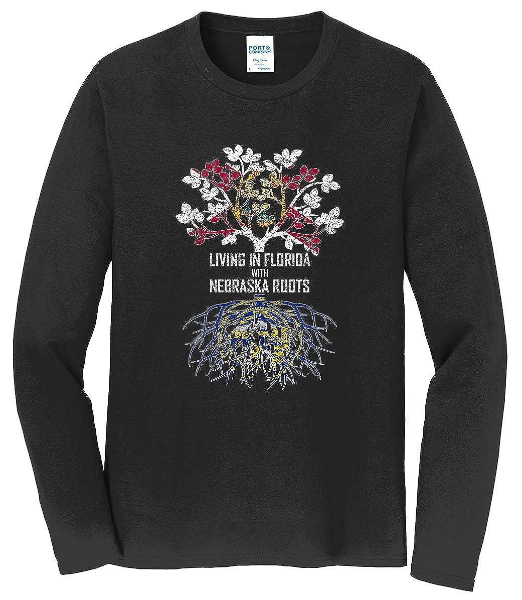 Tenacitee Mens Living in Florida Nebraska Roots T-Shirt