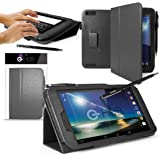 G-HUB® Stand Case for HUDL 2 Tablet - SLATE BLACK Case / Cover / Skin with Built-In PropUp Stand (Dual Angle for Viewing & Typing Positions) - designed by G-HUB, for use with Hudl 8.3 inch Tablet (2nd Version Tablet, Released in 2014). Case includes BONUS: G-HUB ProPen Stylus.