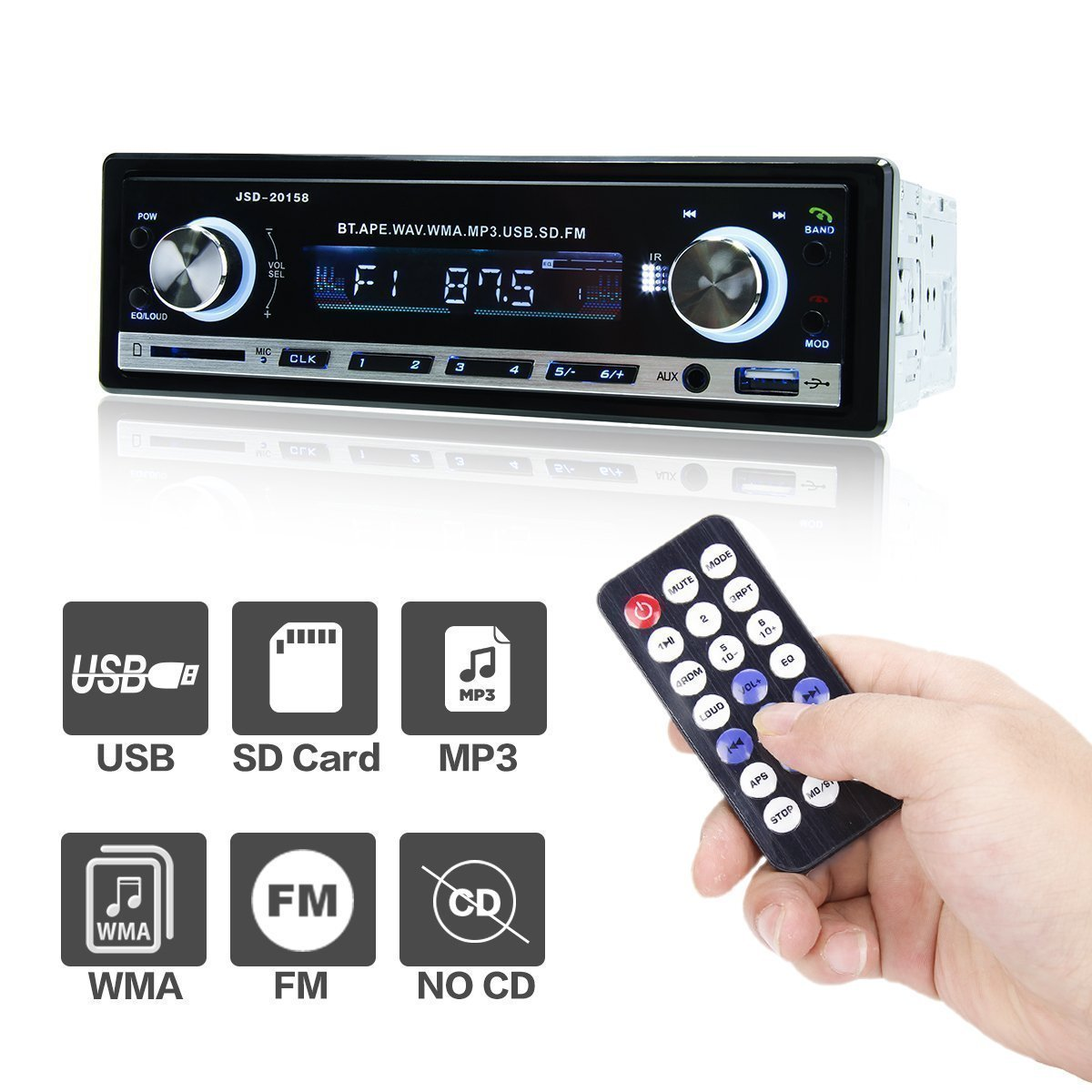 Remote Control POMILE Car MP3 Player Audio FM Receiver with Single-Din Version Car Stereo Bluetooth USB Port and SD Card Slot AUX Receiver