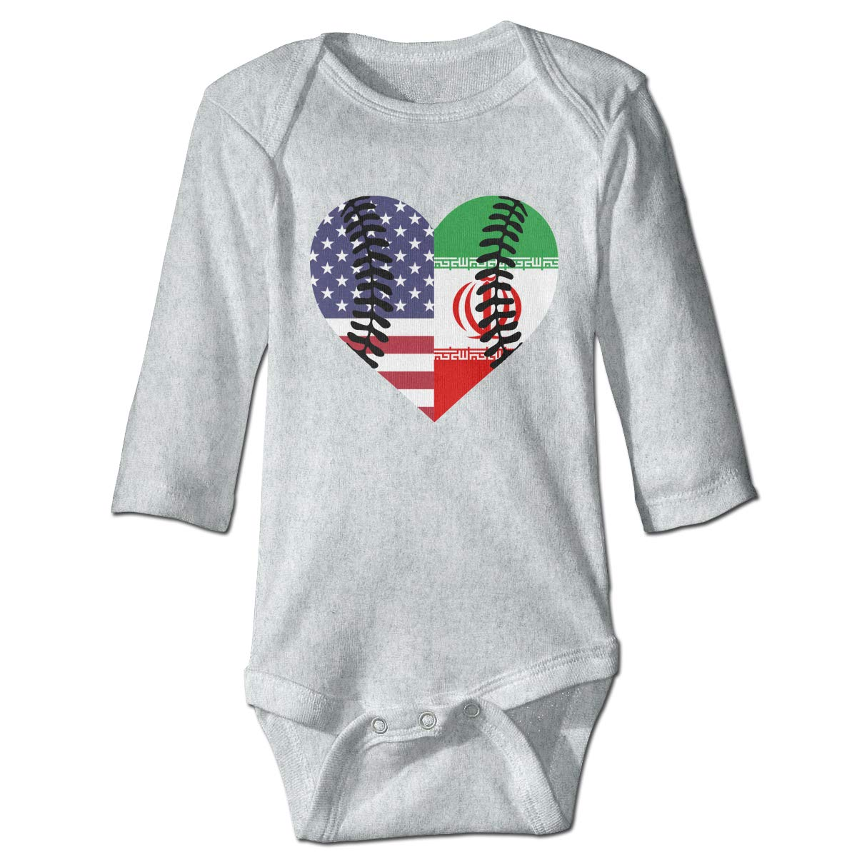 A14UBP Infant Baby Girls Long Sleeve Jumpsuit Romper Iran USA Flag Half Baseball Unisex Button Playsuit Outfit Clothes