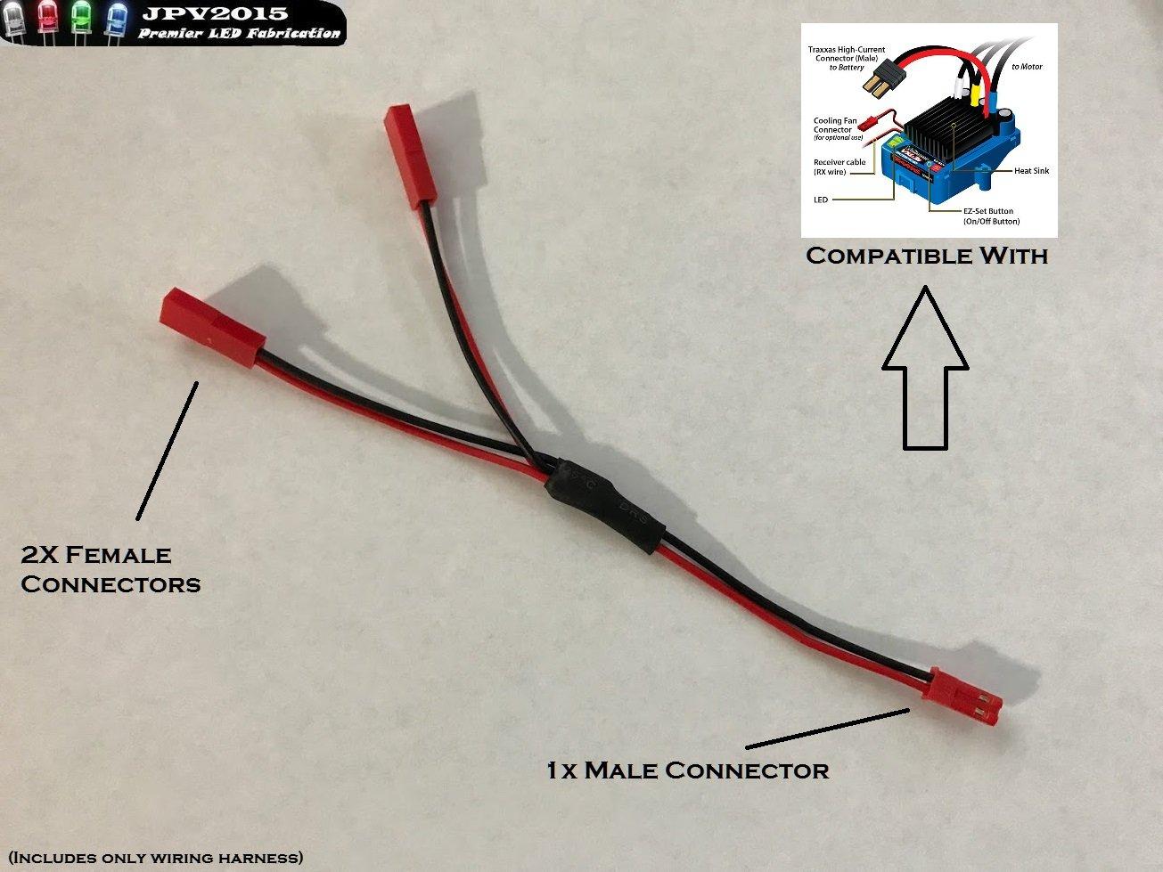 Traxxas Vxl Dual Fan Wiring Harness Jst Plug Splitter Electric 1m2f Play Slash Stampede Rustler Premium Quality Handmade In Usa