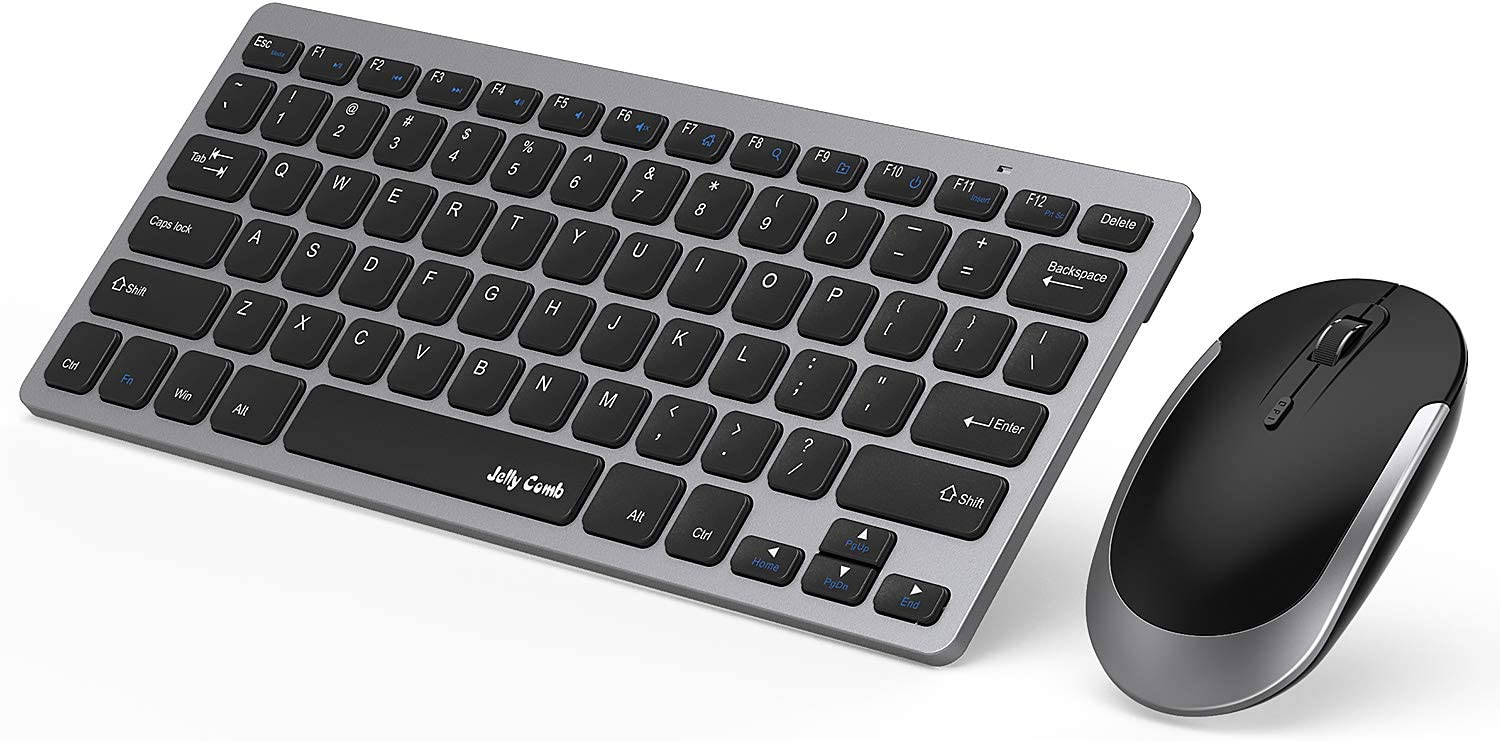 Wireless Keyboard and Mouse, Jelly Comb 2.4G Slim Compact Quiet Small Keyboard and Mouse Combo for Windows, Laptop, PC, Notebook-Black and Gray