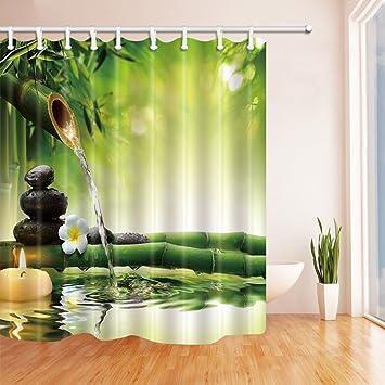 Spa Decor Zen Garden View Jasmin Blumen Japanisches Design Entspannung  Bambus Candlesshower Vorhang Polyester 179