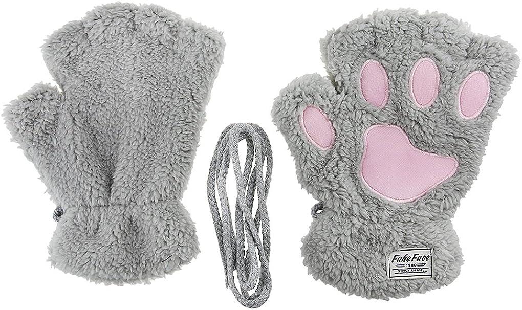 Damen Fingerlos Handschuhe Winter Katze Claw Bear Pfote Pl/üsch F/äustlinge Niedliche Cartoon Halbfinger Handschuhe Warme Fausthandschuh Outdoor Dicke Handw/ärmer