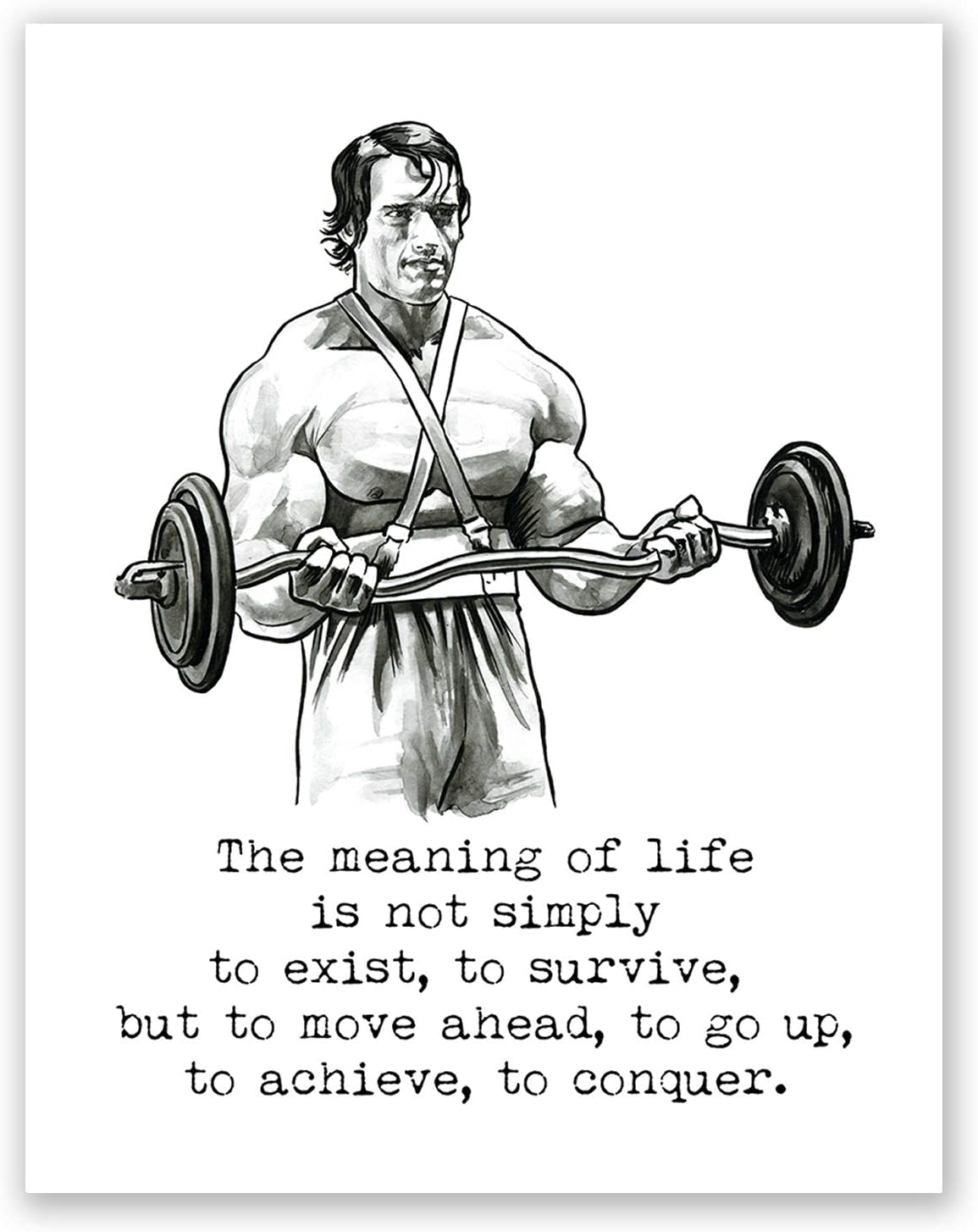 AtoZStudio A61 Arnold Schwarzenegger Poster // Quote // Home Gym Wall Art Decor // Motivational Print Conquer // Fitness Artwork // Bodybuilding Picture // Training // Mr Olympia (8x10)