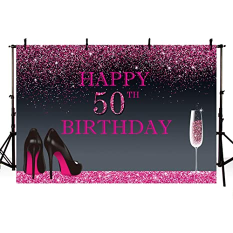 Banner Mehofoto Photography Party Woman 50th Black Heels Backdrops Pink Happy Background High Photo For Birthday Shining Champagne F3JTKu5l1c