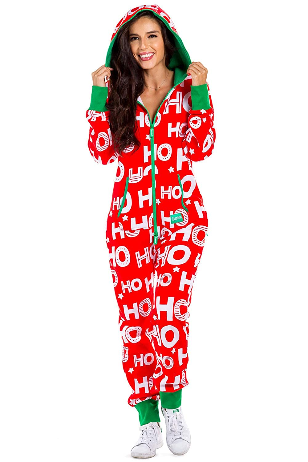 Christmas Onesies.Women S Christmas Onesie Pajamas Red Hohoho Santa Adult Jumpsuit