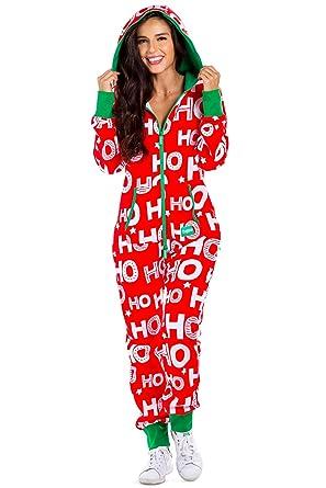 e637db76e9 Women s Christmas Onesie Pajamas - Red HoHoHo Santa Adult Jumpsuit  Medium