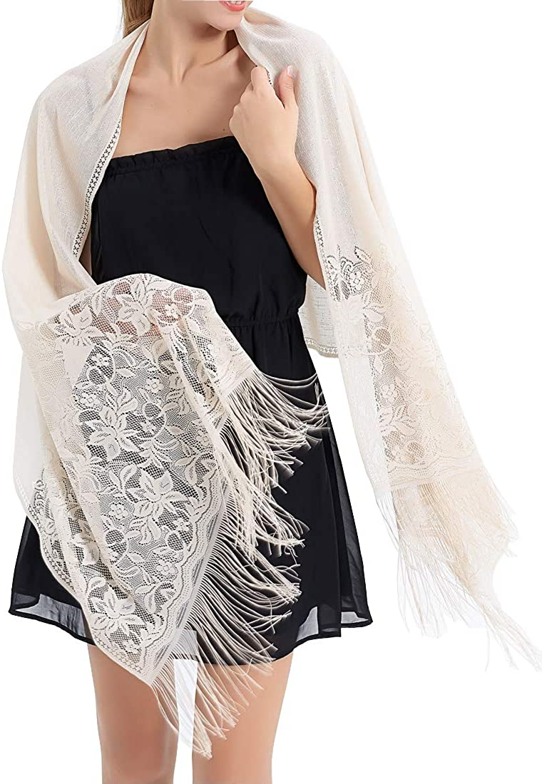 63 Hollow Lace Party Bride Bridesmaid Mesh Yarn Temperament Evening Scarf Scialle DSHRTY Scialle Elegant Wedding Tassel Shawl Female New Pure Color 185