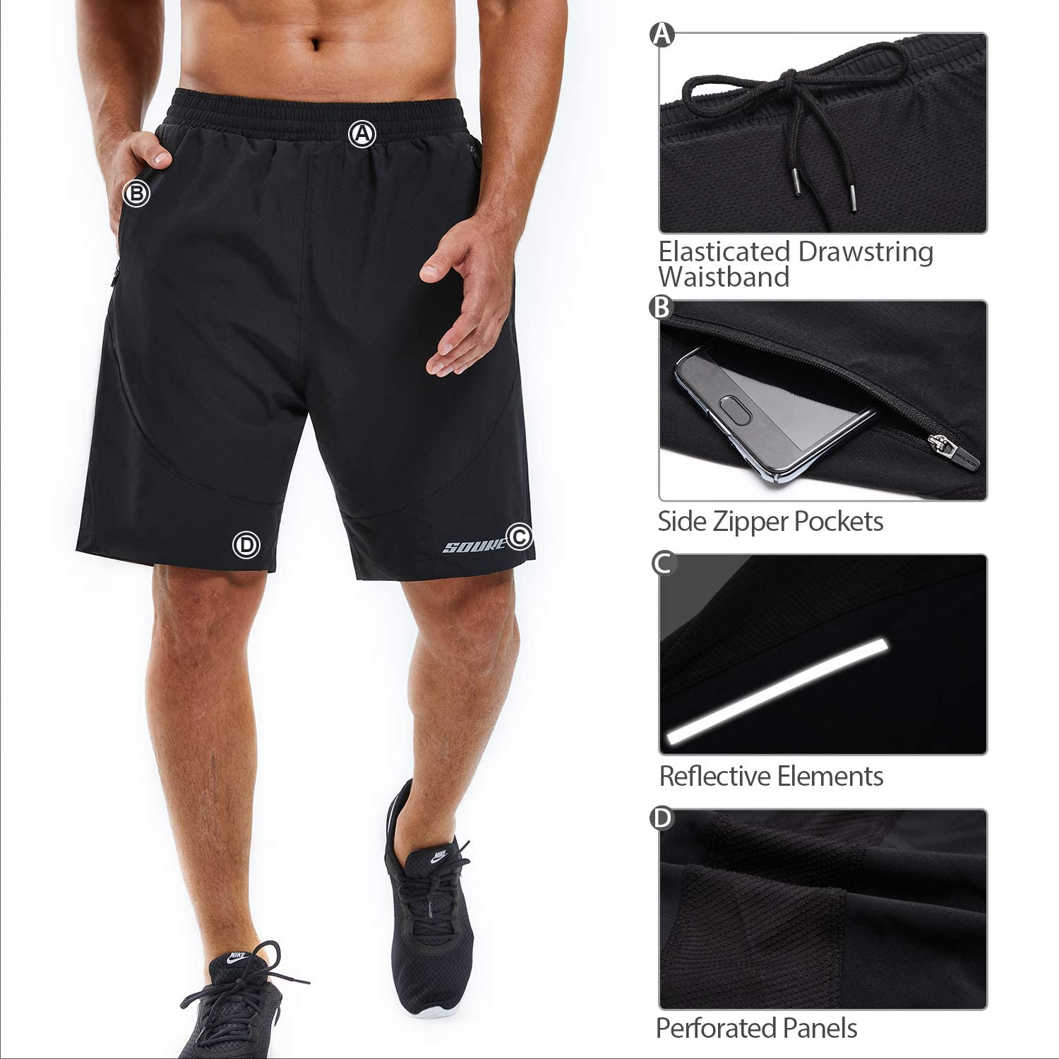 Souke Sports Mens Workout Running Shorts Quick Dry Athletic Performance Shorts Black Liner Zip Pockets