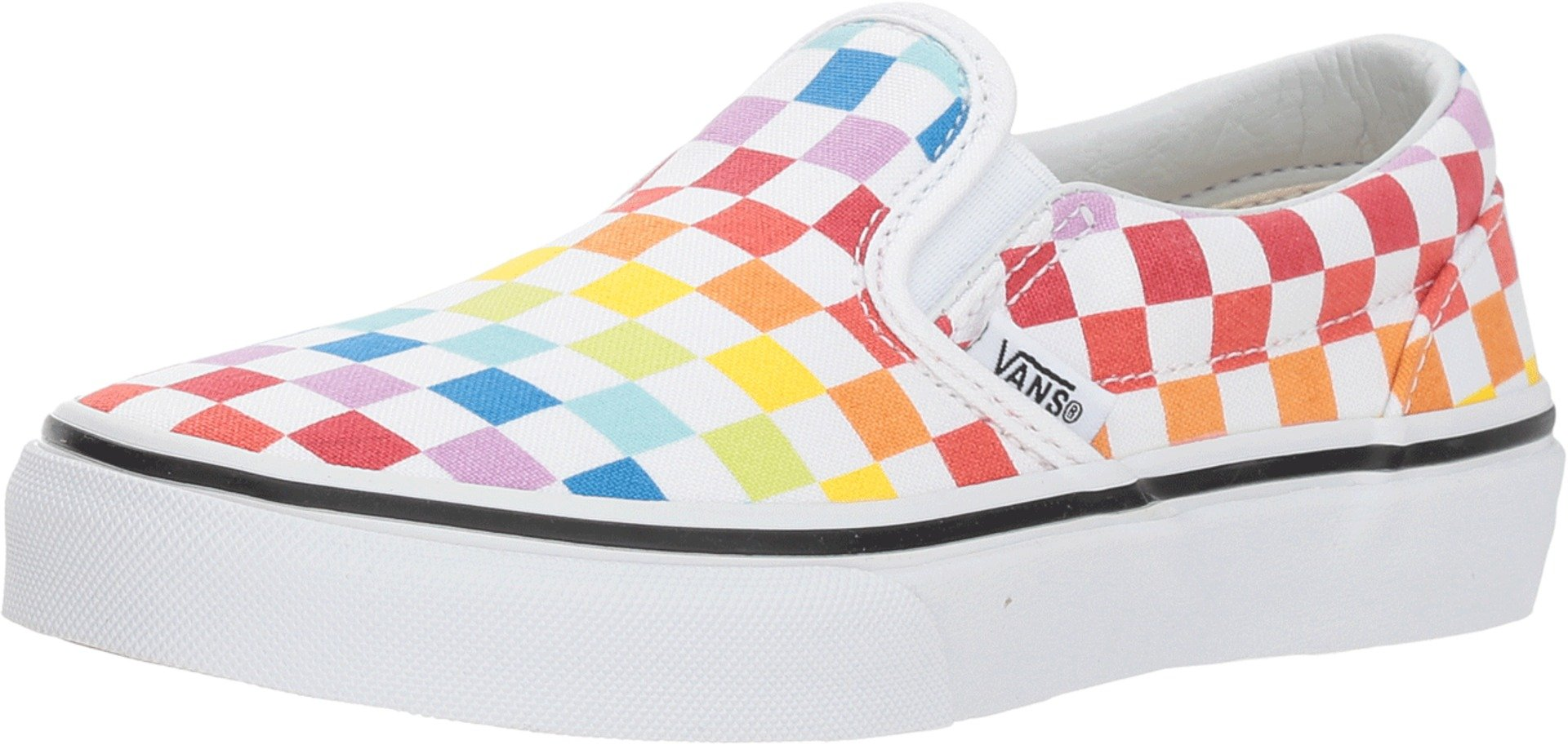 4cb67c1a64beb3 Galleon - Vans Kids K Clasic Slip ON Checkerboard Rainbow White Size 12