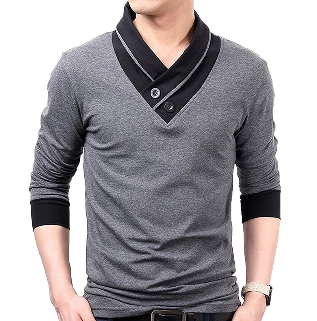 Domple Mens Stitching Cotton Slim Fit Fashion V-Neck Long Sleeve Tee T-Shirts