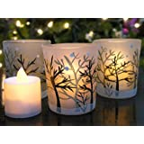 Glittery Winter Trees and Snow Set of 3 Frosted Glass Tealight Candle Holders with Three Flameless Flickering LED Candles Included