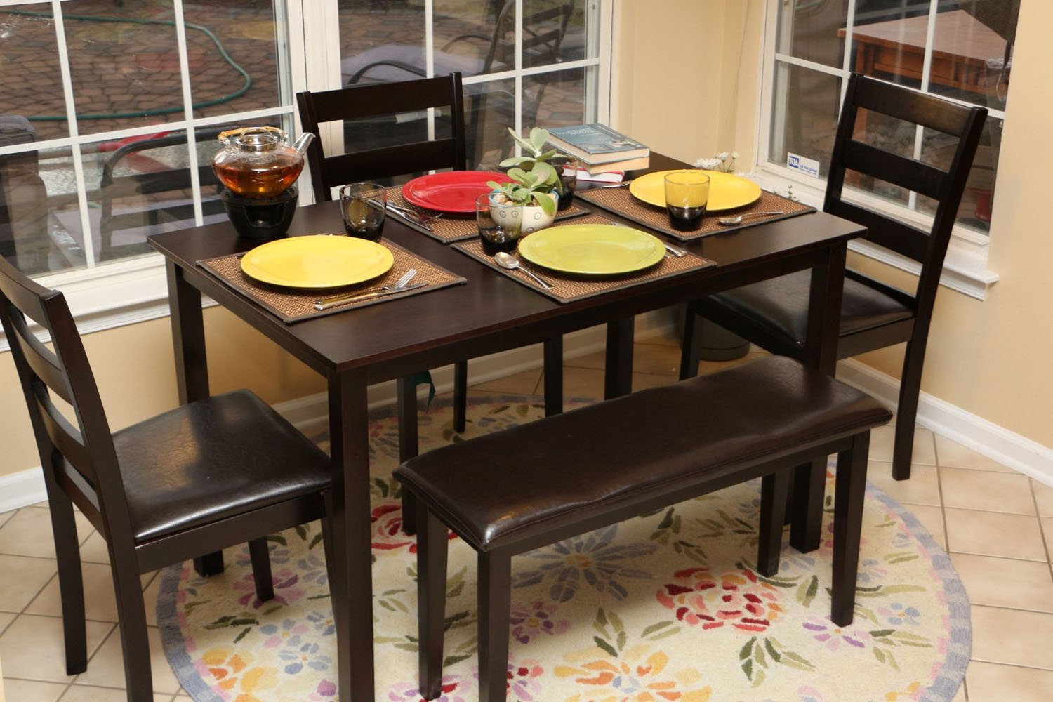 amazoncom 5pc dining dinette table chairs bench set espresso brown 150232b table chair sets - Dining Room Table With Chairs And Bench
