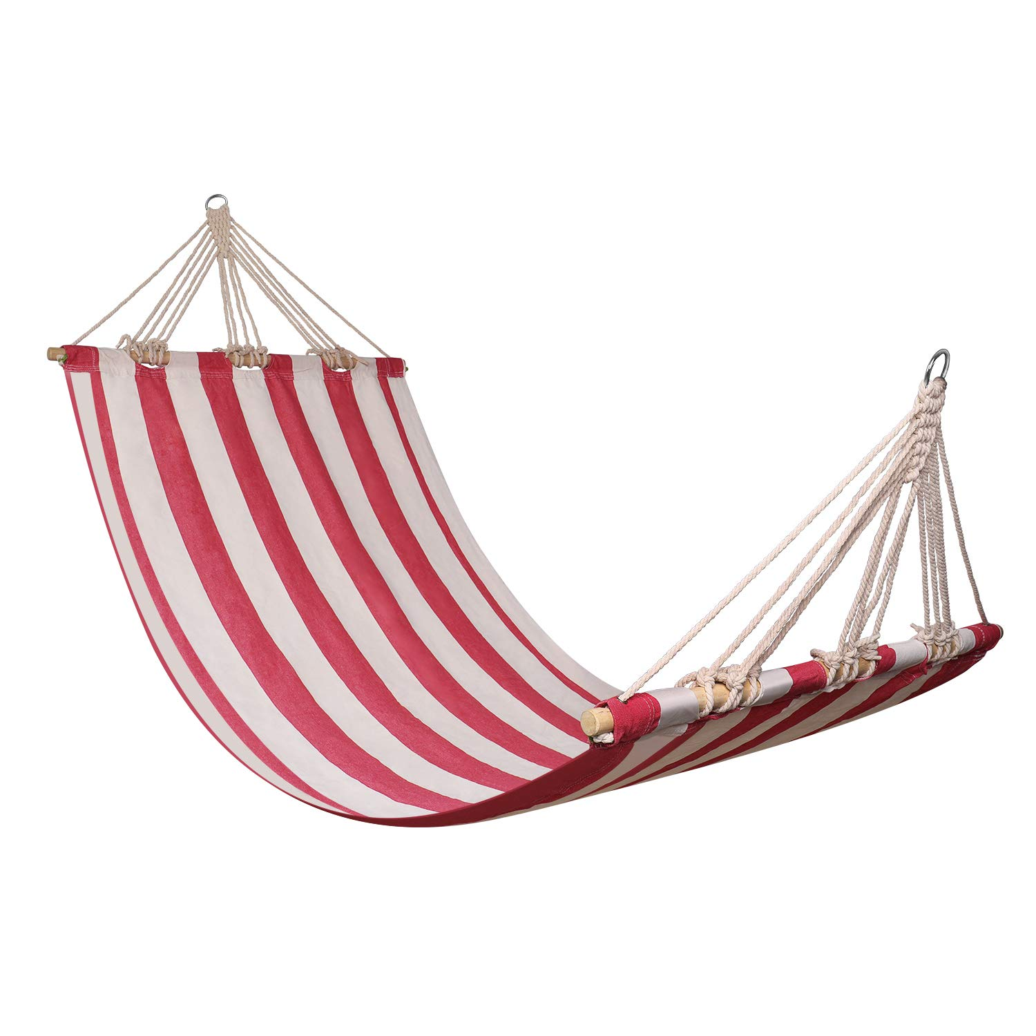 Flexzion Portable Swing Hammocks, Ultralight Leisure Hanging Canvas Hammock with Wooden Spreader Bars for Suspended Tree Sleeping Bed Stand Camping Beach Outdoor Garden Patio Travel Red White Stripes
