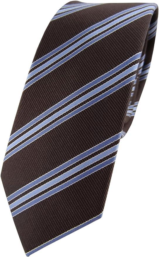 stretto cravatta TigerTie marrone scuro blu bianco striato
