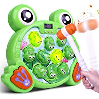 Riarmo Whack a Frog Game, Interactive Pounding Toy for Early Developmental Learning, Ideal Stem Toy with Music Lights for Toddlers/Boys/Girls/Kids of 2, 3, 4, 5, 6, 7, 8 Years Old, 2 Hammers Included