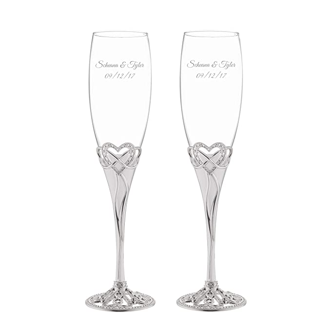 d1c56fa9f98 Amazon.com | Things Remembered Personalized Infinity Heart Champagne Flute  Set with Engraving Included: Champagne Glasses